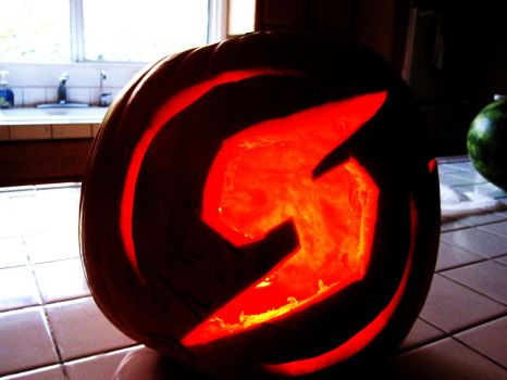 Metroid Screw Attack Pumpkin 2011 by DRinger8118