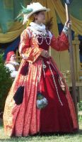 LadyLucrezia's red-gold gown by HistoricCostume
