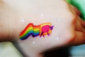 Nyan Cat on hand by Sherlock-Marston