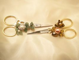 Two Pairs of Pretty Scissors 2 by KimsButterflyGarden