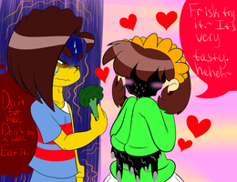 Friara:Empty Frisk and the broccoli by ReneesDetermination