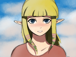 Kiss Zelda? (SKYWARD SWORD) :Sketchy Colored: by spenzbowart