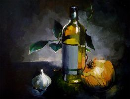 Onion, Garlic, Bottle by Serain