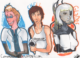 Chell Human Wheatly and Glados by Nuclearpsychotic