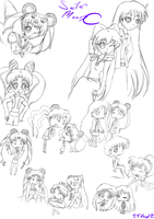 Sailor Moon doodles by iTiffanyBlue