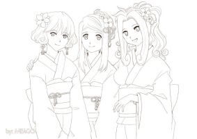 three beauties - lineart by meago