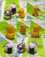 Chocobo charm + earrings by imaginated-friend