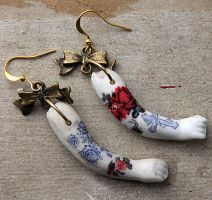 Antique Bisque Tattooed Doll Arm Earrings GP by asunder