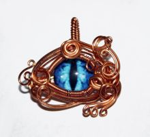 Copper Wire Wrap Glass Dragon Eye Pendant by Create-A-Pendant