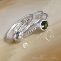Stacking Ring Set with Tourmaline by che4u