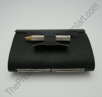Black pocket notebook with pencil clasp by ThePressGang-ink