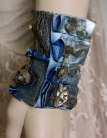 Blue patina gold dusty Cuff II by Pinkabsinthe