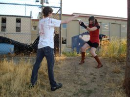 Claire Redfield and zombie by MajesticStock