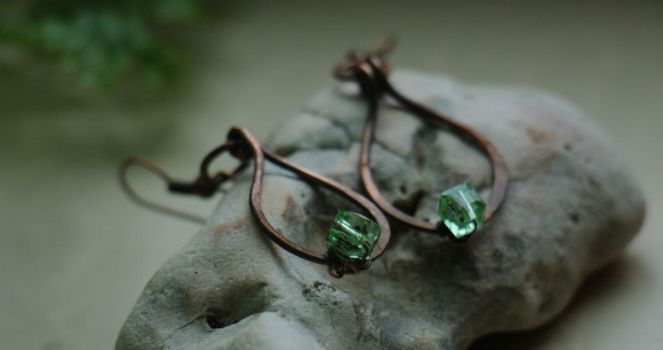 First leaf - wire wrapped earrings by Altawista