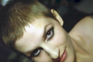 A very old me with a shaved head by battybaby