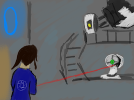 Portal: Ebony and GLaDOS by StardustWingsLight