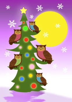 Christmas tree owls by JellyRollDesigns