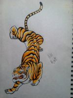 my traditional tiger by clearfishink