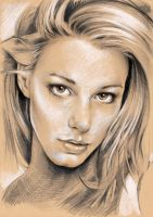 Portrait - White chalk on grafit by Illustrate23