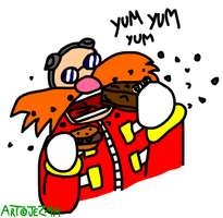 Eggman enjoys a spot of lunch by JezMM