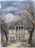 Haunted house and full moon by PavelFireman
