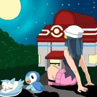 Dawn (Lucinda) and her pokemon by Celeste-Lory