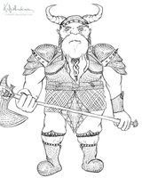Dwarf Warrior - lineart by iCasseith