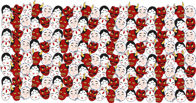 Japanese Mask Pattern by Beccaphant