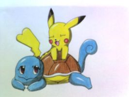 Squirtle and Pikachu by zeaeevee