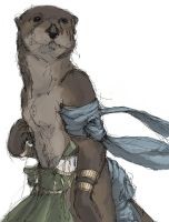 Otter Quickpensketch and color by Zethelius