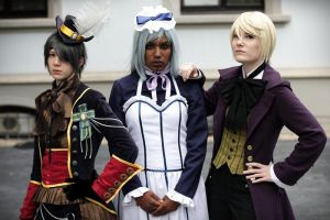 Ciel...Hannah...Alois Cosplay Animagic '11 by llAngelusll