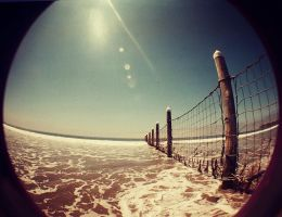 Lomography Fisheye Beach Fence by hell0z0mbie