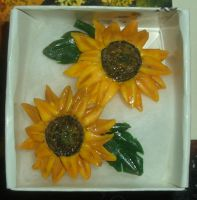 Sunflower earrings by estranged-illusions