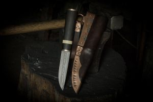 Multi-bar Damascus viking knife by Haraldr32