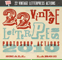 22 Vintage Letterpress Photoshop Actions by freebiespsd