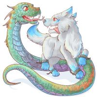 Baby Fenrir and Jormungandr by Fufunha