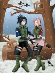 Commission: SasuSaku - Winter [Birds Feeding] by ArisuAmyFan