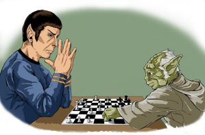 Spock and Yoda Play Chess by jeremiah222