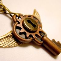 Flying Chimera Old Key Pendant by SteamSociety