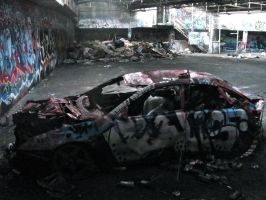 Trashed Car In Abandoned Factory by miss-melz