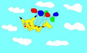 Flying Pikachu in the skies by imthecutest1238