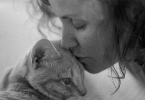 Portrait of my mother and cat by bishie-keeper