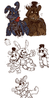 Fnaf - Some nightmare doodles by Marikuishiyutaru