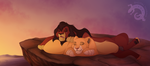 Kiara and Kovu at dawn by DigitalIguana