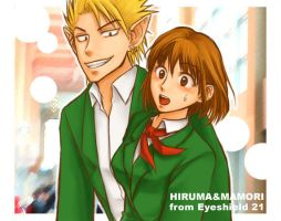 Hiruma and Mamori by Kugen