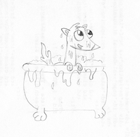 Bath Time Philo the ferret by DBluver