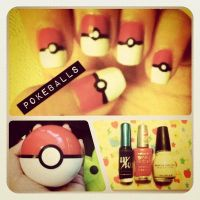 Pokeball Nails by ting--ting
