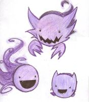 Haunter Gastly and Gengar by xxTHOR-ettxx