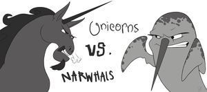 Unicorns vs. Narwhals by shayfifearts