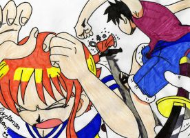 Luffy vs Buggy by Constanza-Chan14